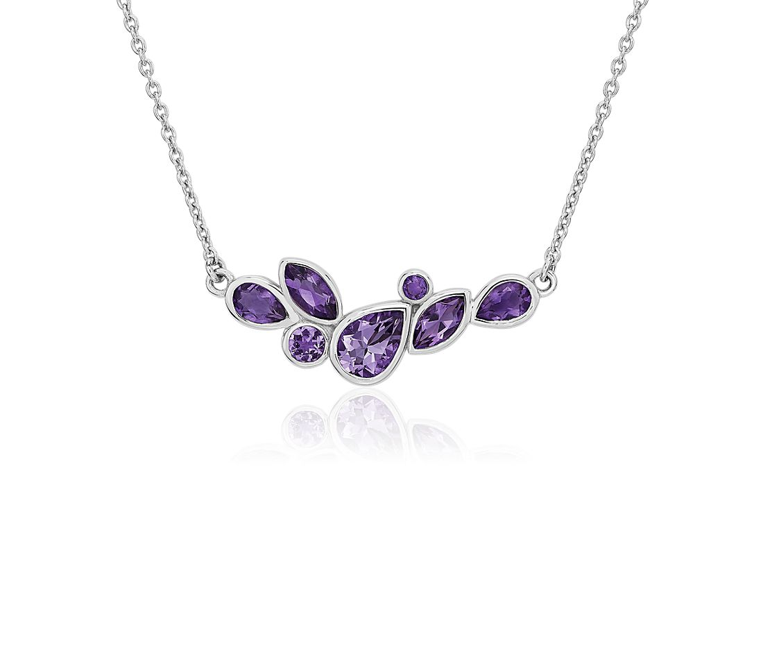 Mixed Shape Amethyst Necklace in Sterling Silver