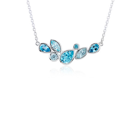 Mixed Shape Blue Topaz Necklace in Sterling Silver