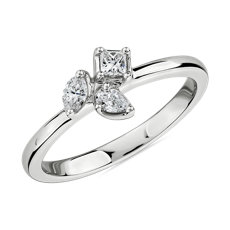 NEW Mixed Shape Diamond Cluster Fashion Ring in 14k White Gold (1/4 ct. tw.)