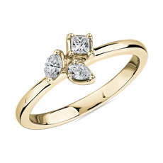 NEW Mixed Shape Diamond Cluster Fashion Ring in 14k Yellow Gold (1/4 ct. tw.)