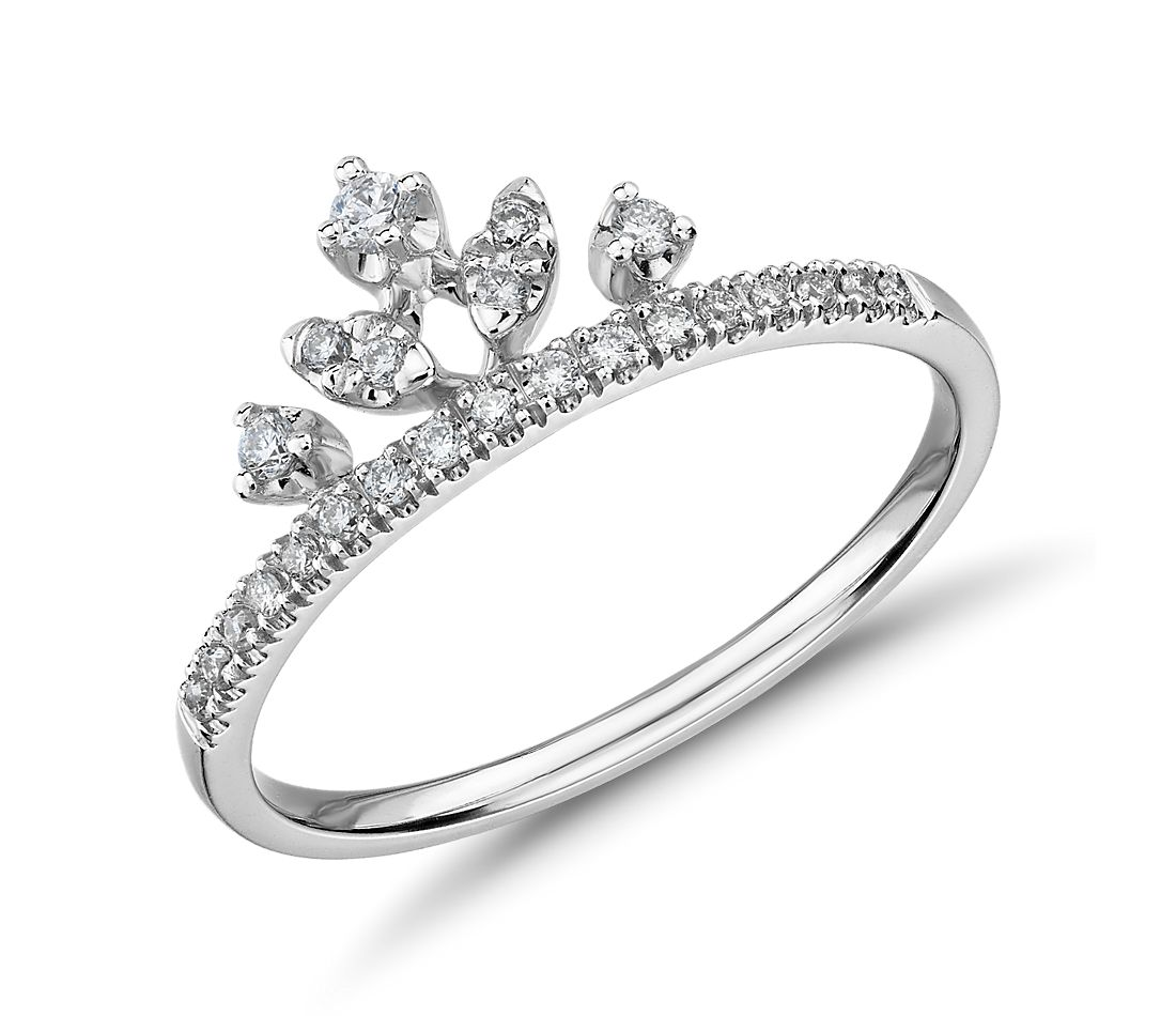 Mixed Shape Diamond Crown Fashion Ring in 14k White Gold (0.15 ct. tw.)