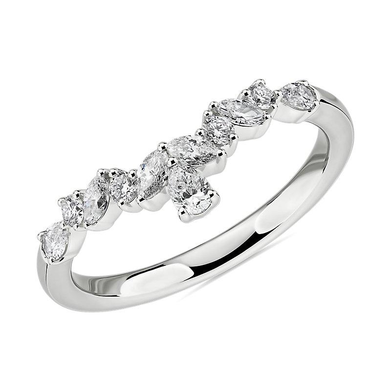 Mixed Shape Diamond Tiara Curved Wedding Ring in 14k White Gold (1/2 ct. tw.)