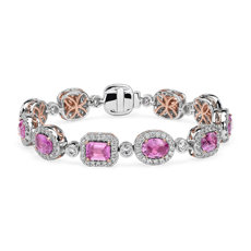 Mixed Shape Pink Sapphire Eternity Bracelet with Diamond Halo in 18k White & Rose Gold