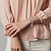 18K 白金和玫瑰金混合形状钻石光环粉色蓝宝石永恒手链