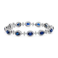 新款 18k 白金 Mixed Shape Sapphire and Diamond Halo Bracelet