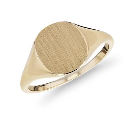 14k 黃金 現代感刷面印章流行戒指