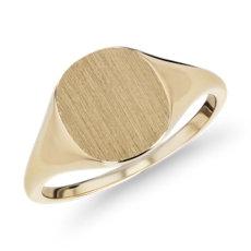 14k 金现代拉丝图章装饰戒指