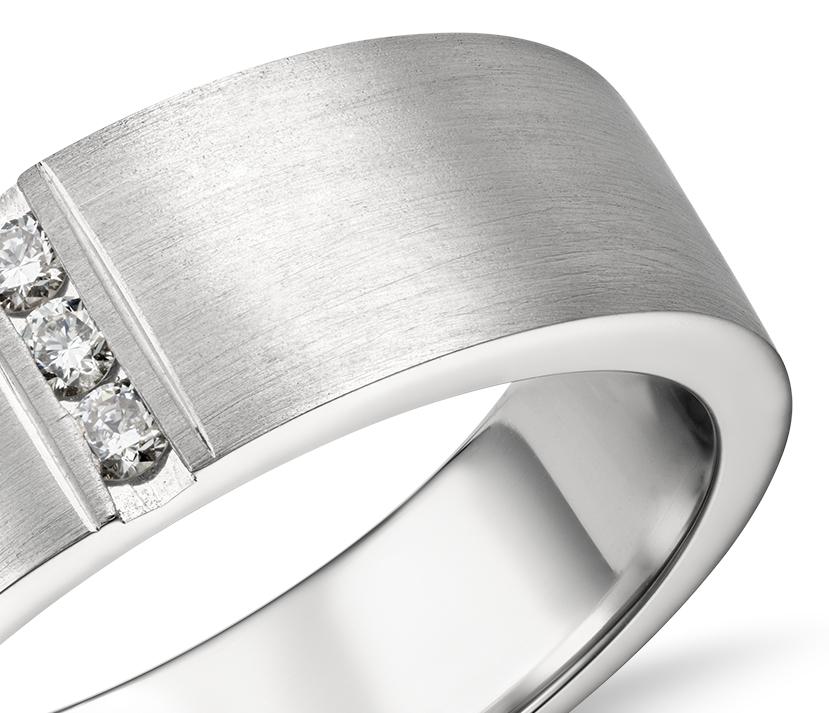 Bague en diamant barrette moderne en platine (1/12carat, poids total)