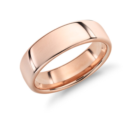 14k 玫瑰金现代内圈圆弧设计结婚戒指<br>(6.5毫米)