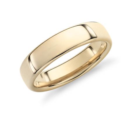 14k 金现代内圈圆弧设计结婚戒指<br>(5.5毫米)
