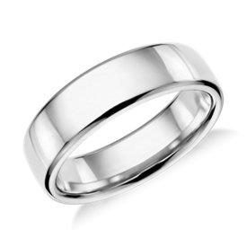 Alianza moderna con diseño redondeado en platino (6,5mm)