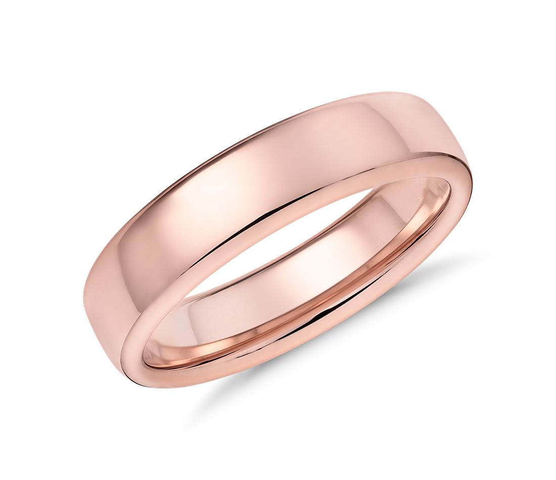 Modern Comfort Fit Wedding Ring in 14k Rose Gold (5.5mm) | Blue Nile