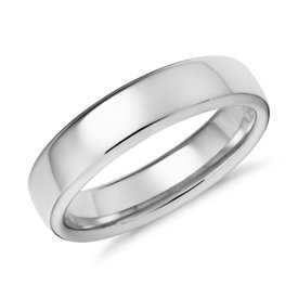 Alliance moderne et confortable en or blanc 14 carats (5,5 mm)