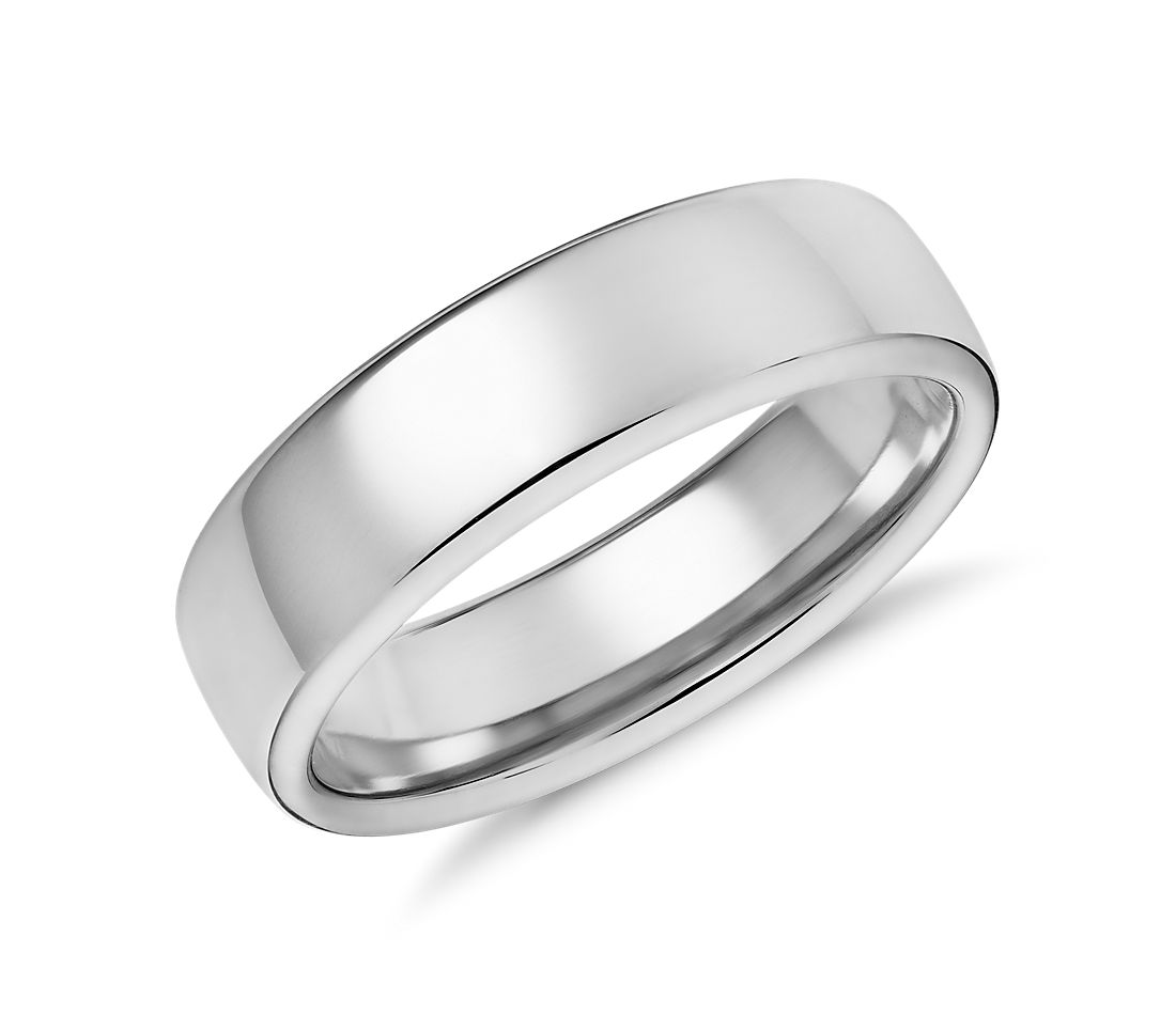 modern comfort fit wedding ring white gold white gold wedding bands Modern Comfort Fit Wedding Ring in 14k White Gold 6 5mm