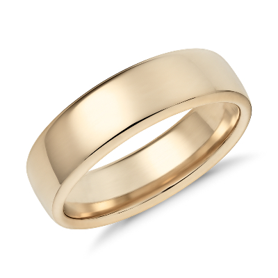 Modern Comfort Fit Wedding Ring in 14k Yellow Gold 65mm Blue Nile