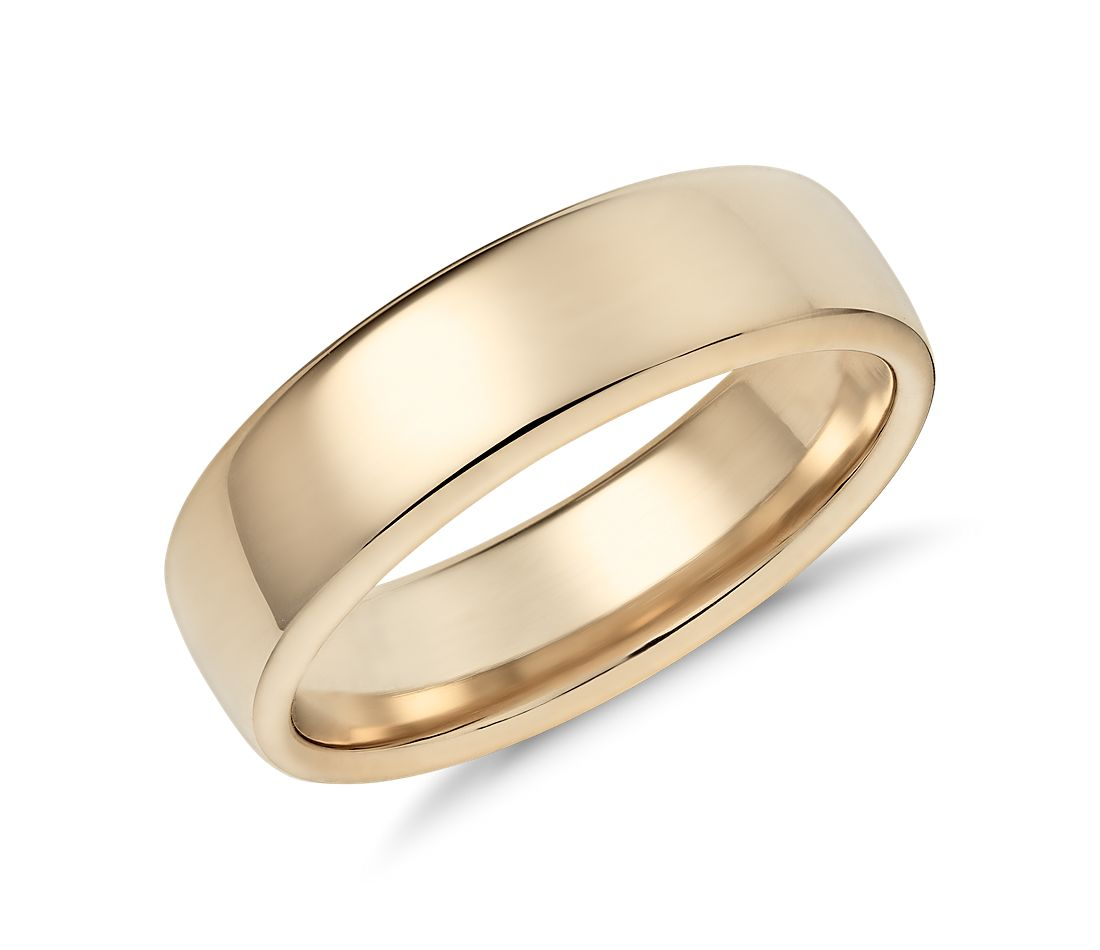 Modern Comfort Fit Wedding Ring In 14k Yellow Gold 65mm