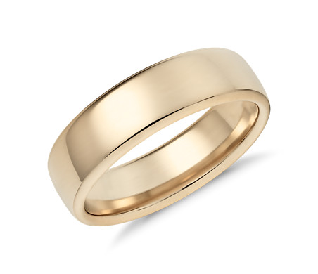 Modern Comfort Fit Wedding Ring in 14k Yellow Gold (6.5mm)