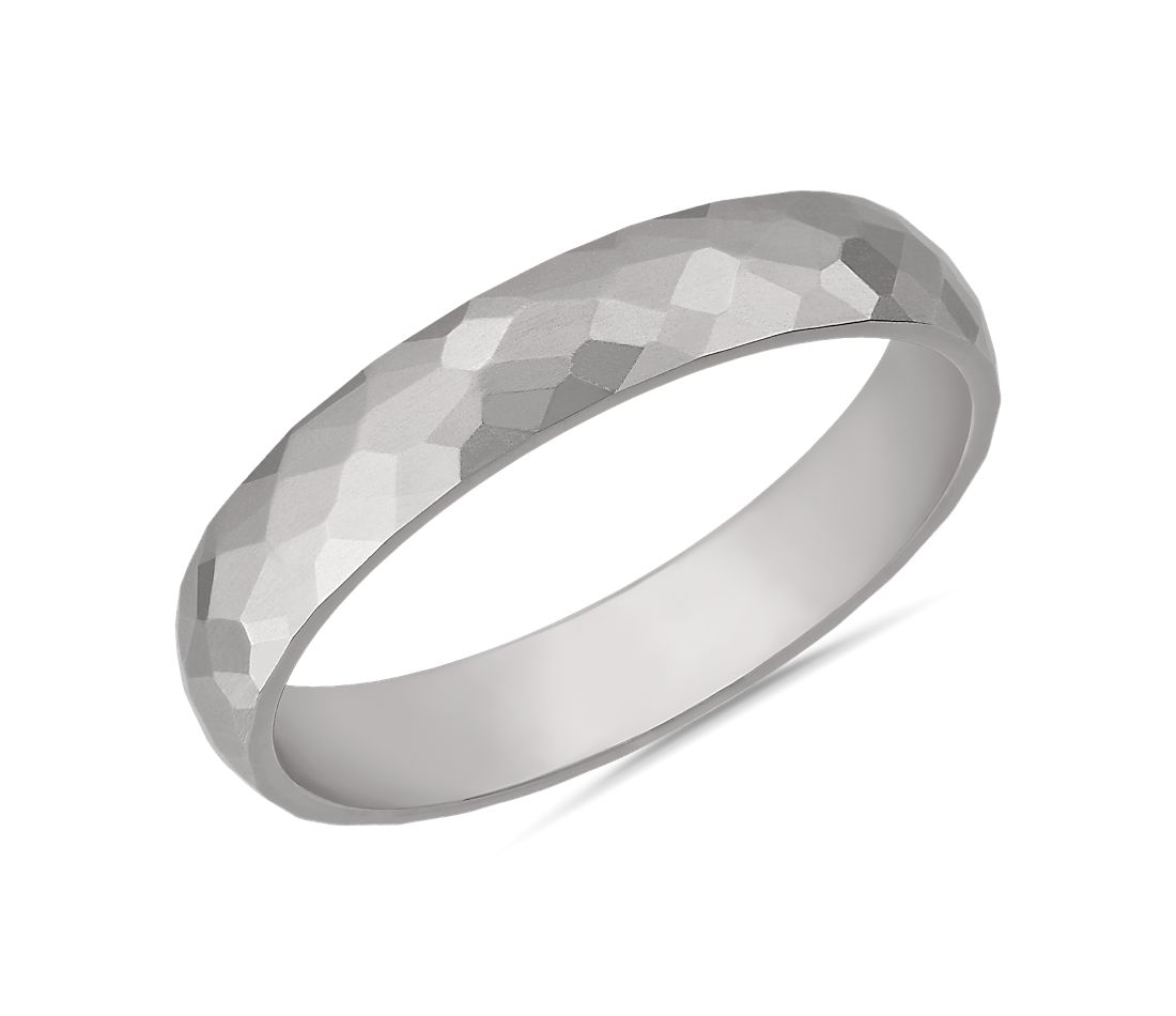 Modern Hammered Wedding Ring in 14k White Gold (4mm)