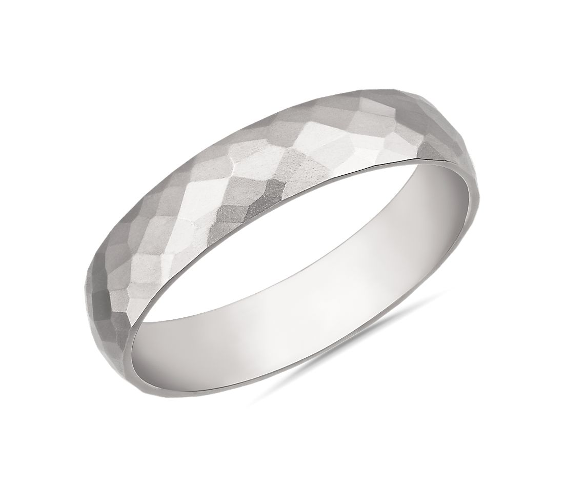 Modern Hammered Wedding Ring in 14k White Gold (5mm)