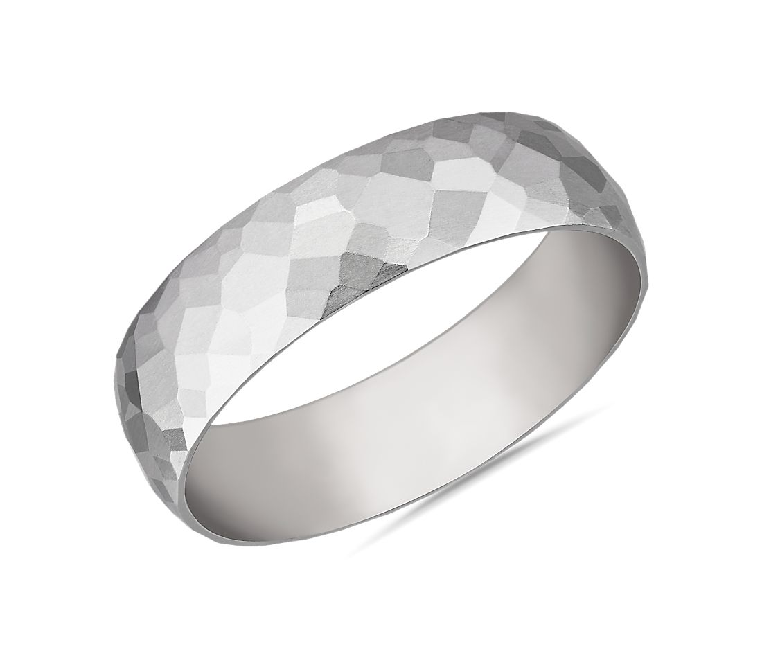 Modern Hammered Wedding Ring in 14k White Gold (6mm)
