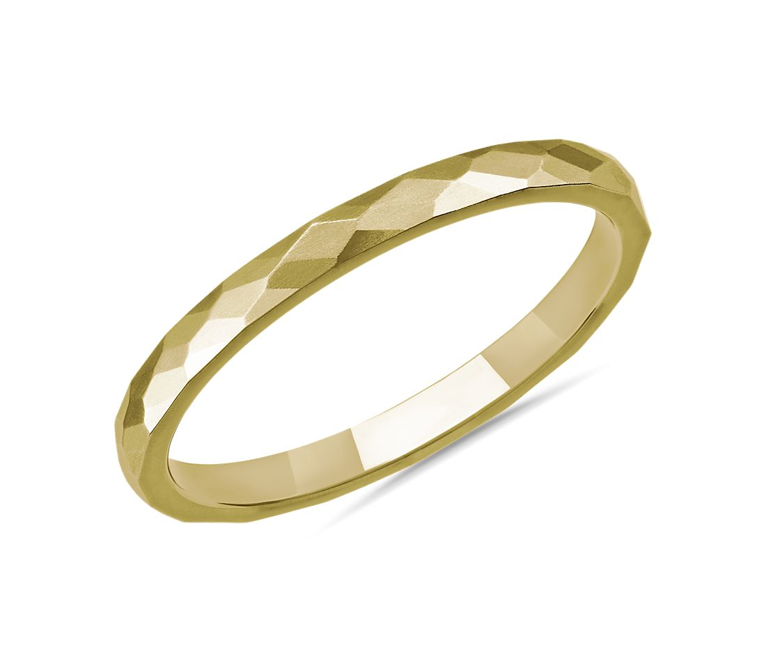 Modern Hammered Wedding Ring in 14k Yellow Gold (2mm)