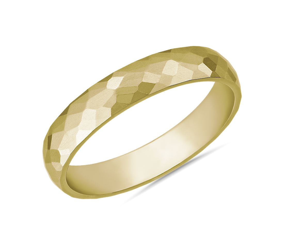 Modern Hammered Wedding Ring in 14k Yellow Gold (4mm)