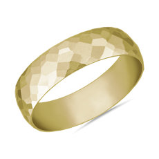 Modern Hammered Wedding Ring in 14k Yellow Gold (6mm)