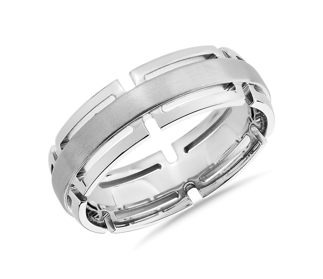 Modern Link Edge Wedding Ring in 14k White Gold (7mm)