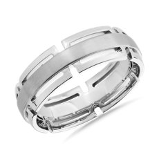 14k 白金摩登链节边缘结婚戒指(7毫米)