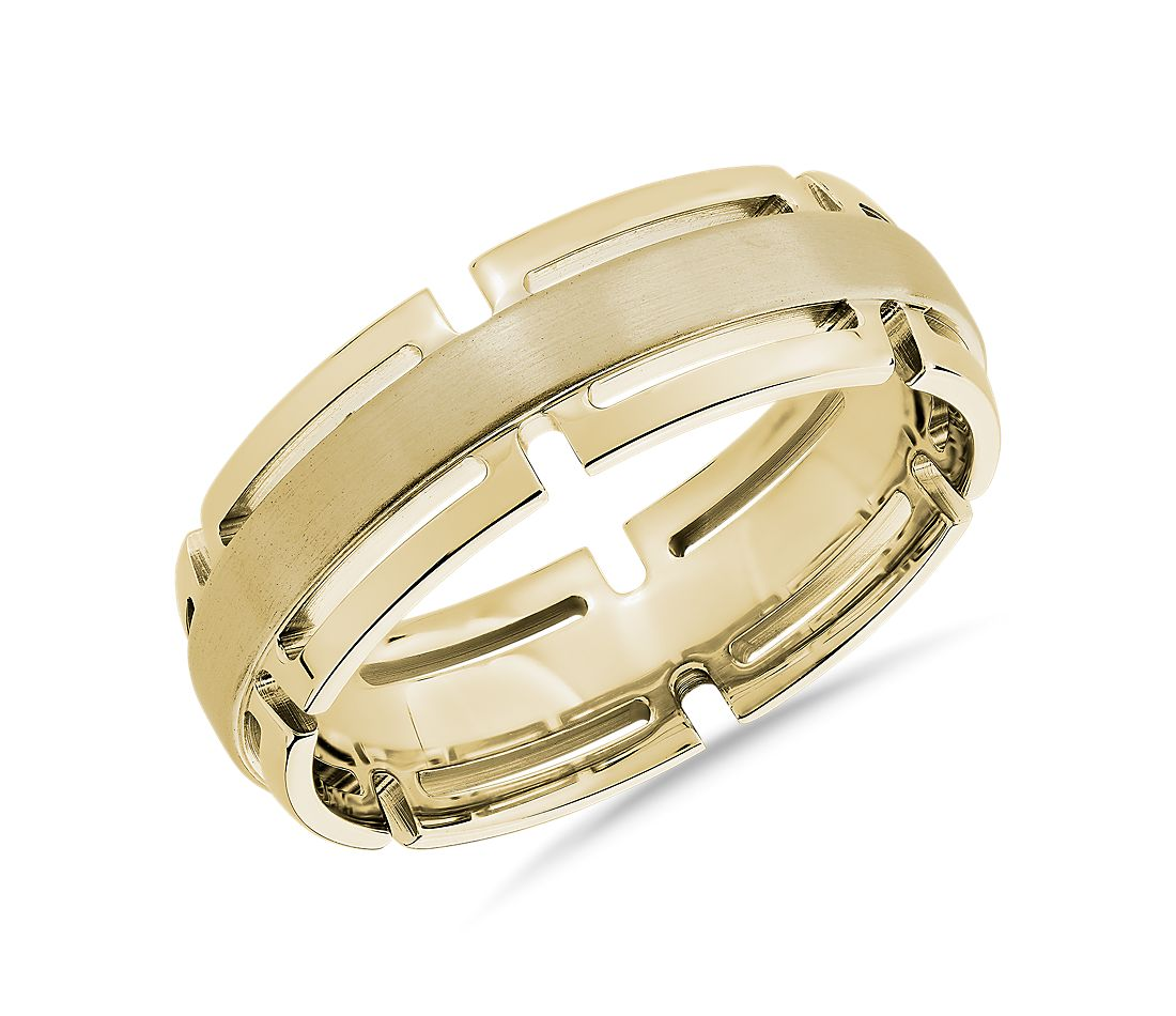 Modern Link Edge Wedding Ring in 14k Yellow Gold (7mm)