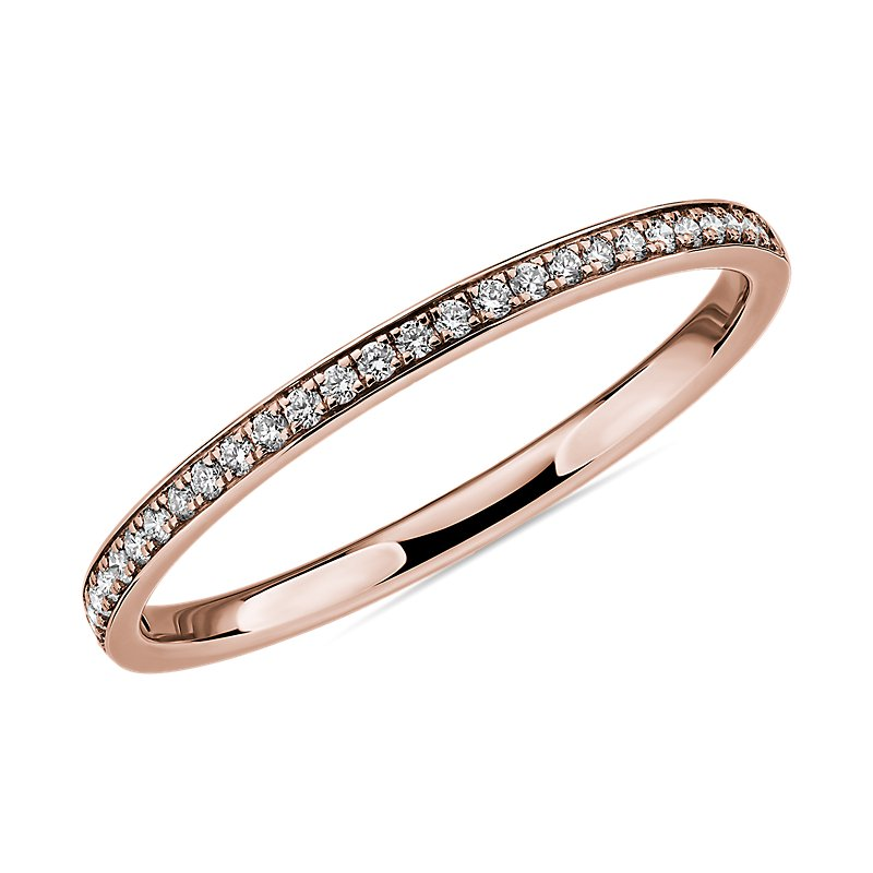 Modern Micropavé Diamond Wedding Ring in 14k Rose Gold (1/