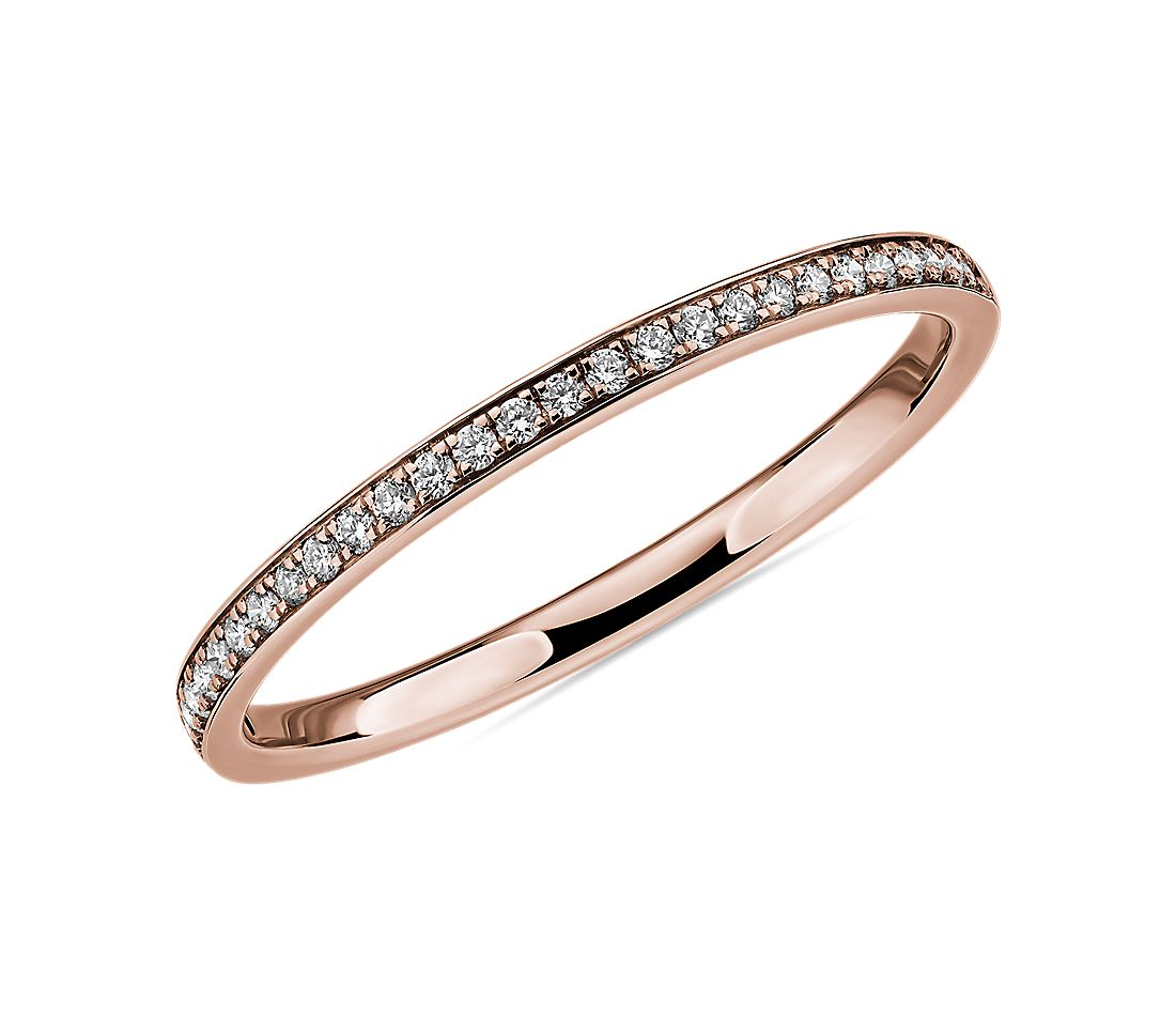 Modern Micropavé Diamond Wedding Ring in 14k Rose Gold (1/10 ct. tw.)