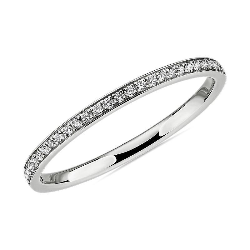 Modern Micropavé Diamond Wedding Ring in 14k White Gold (1