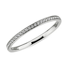 NEW Modern Micropavé Diamond Wedding Ring in 14k White Gold (0.12 ct. tw.)