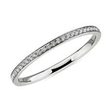 NEW Modern Micropavé Diamond Wedding Ring in 14k White Gold (0.12 ct. tw.)
