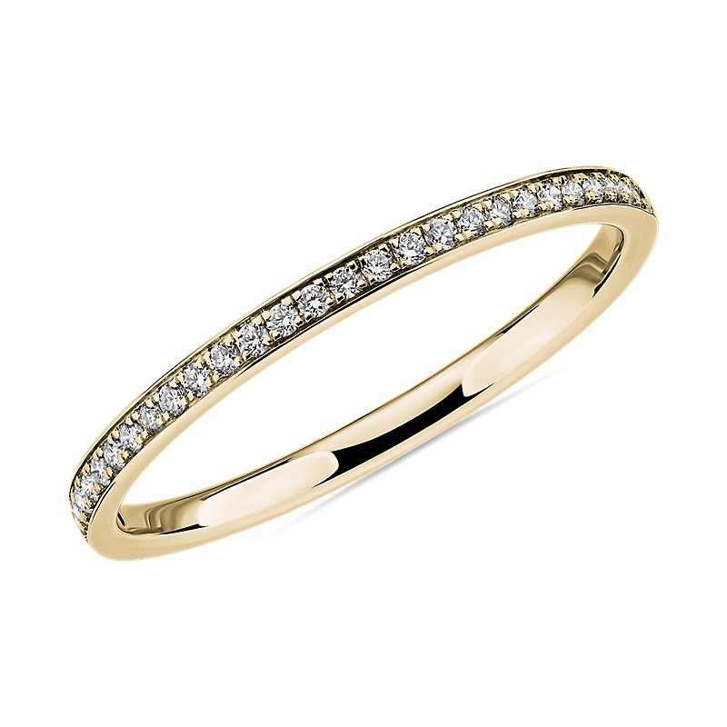 Modern Micropavé Diamond Wedding Ring in 14k Yellow Gold (
