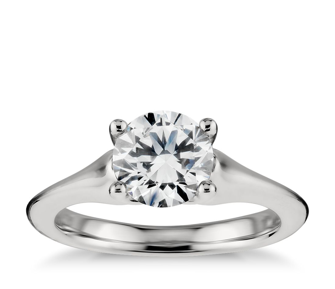 Modern Solitaire Diamond Engagement Ring in Platinum