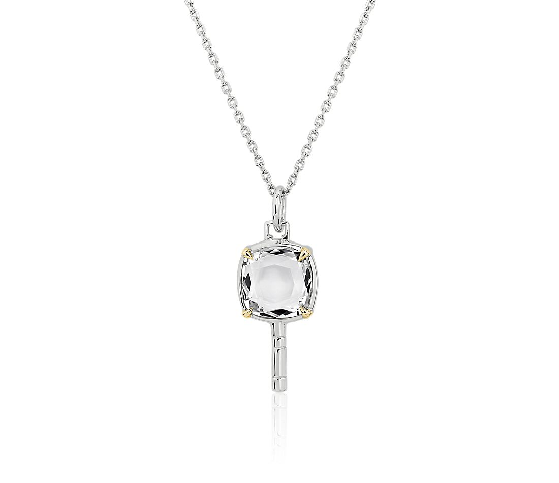 Monica Rich Kosann Mini Pocketwatch Key Necklace in Sterling Silver and 18k Yellow Gold