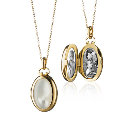 Monica Rich Kosann Petite Mother of Pearl Oval Locket in 18k Yellow Gold