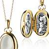 Monica Rich Kosann Petite Mother of Pearl Oval Locket in 18k Yellow Gold