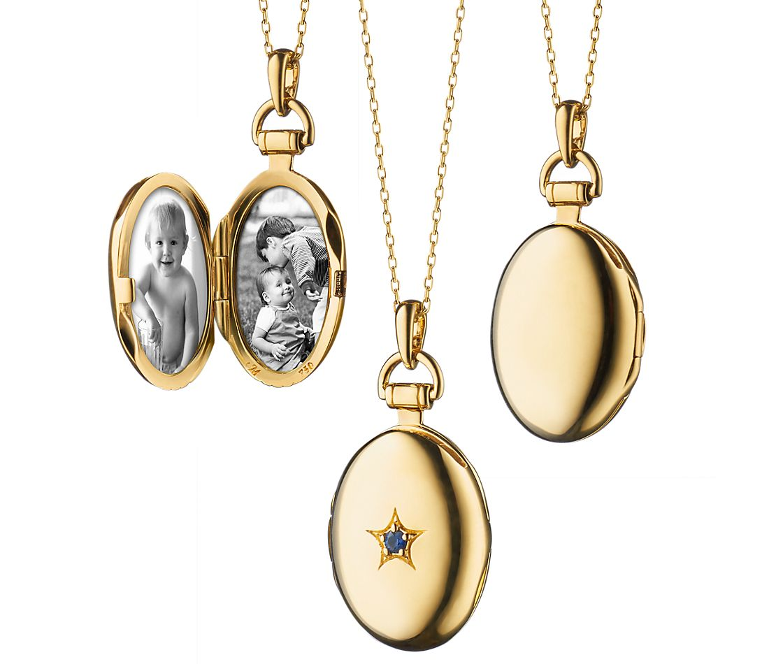 Monica Rich Kosann Sapphire Petite Oval Locket In 18k