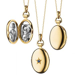 Monica Rich Kosann Sapphire Petite Oval Locket in 18k Yellow Gold (2mm)