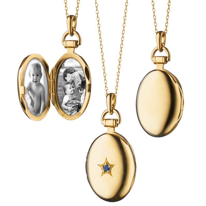 Monica Rich Kosann Sapphire Petite Oval Locket in 18k Yellow Gold
