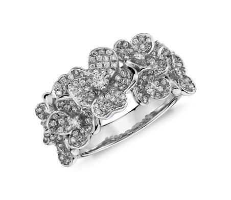 Monique Lhuillier Floral Diamond Ring in 18k White Gold
