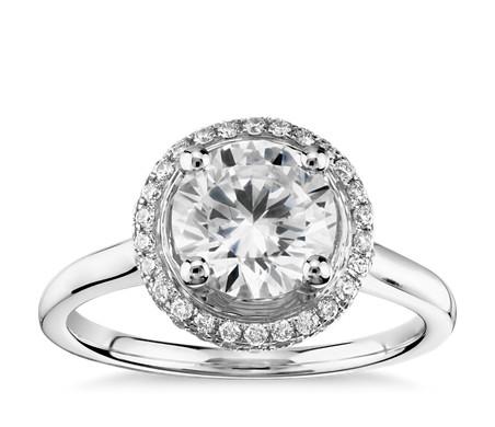Monique Lhuillier Micropavé Halo Diamond Engagement Ring in Platinum (1/5 ct. tw.)