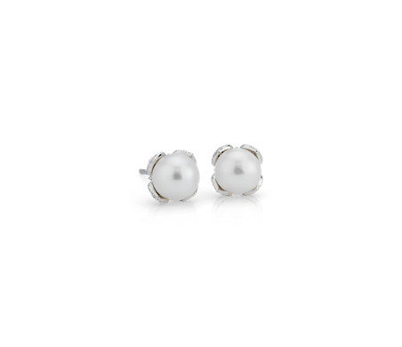 Monique Lhuillier Akoya Cultured Pearl and Diamond Petal Earrings in 18k White Gold (1/6 ct. tw.)