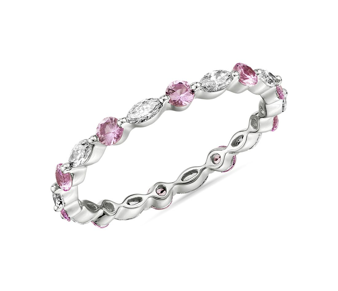 Monique Lhuillier Alternating Diamond & Pink Sapphire Eternity Ring in Platinum