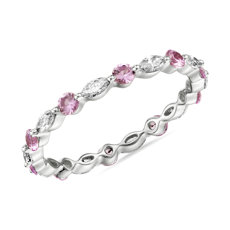 Monique Lhuillier Alternating Diamond & Pink Sapphire Eternity Ring in Platinum (3/8 ct. tw.)