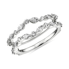 Monique Lhuillier Alternating Marquise & Round Diamond Guard in Platinum (3/4 ct. tw.)