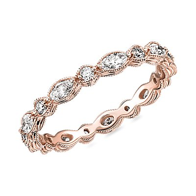 NEW Monique Lhuillier Alternating Marquise & Round Eternity Band in 18k Rose Gold